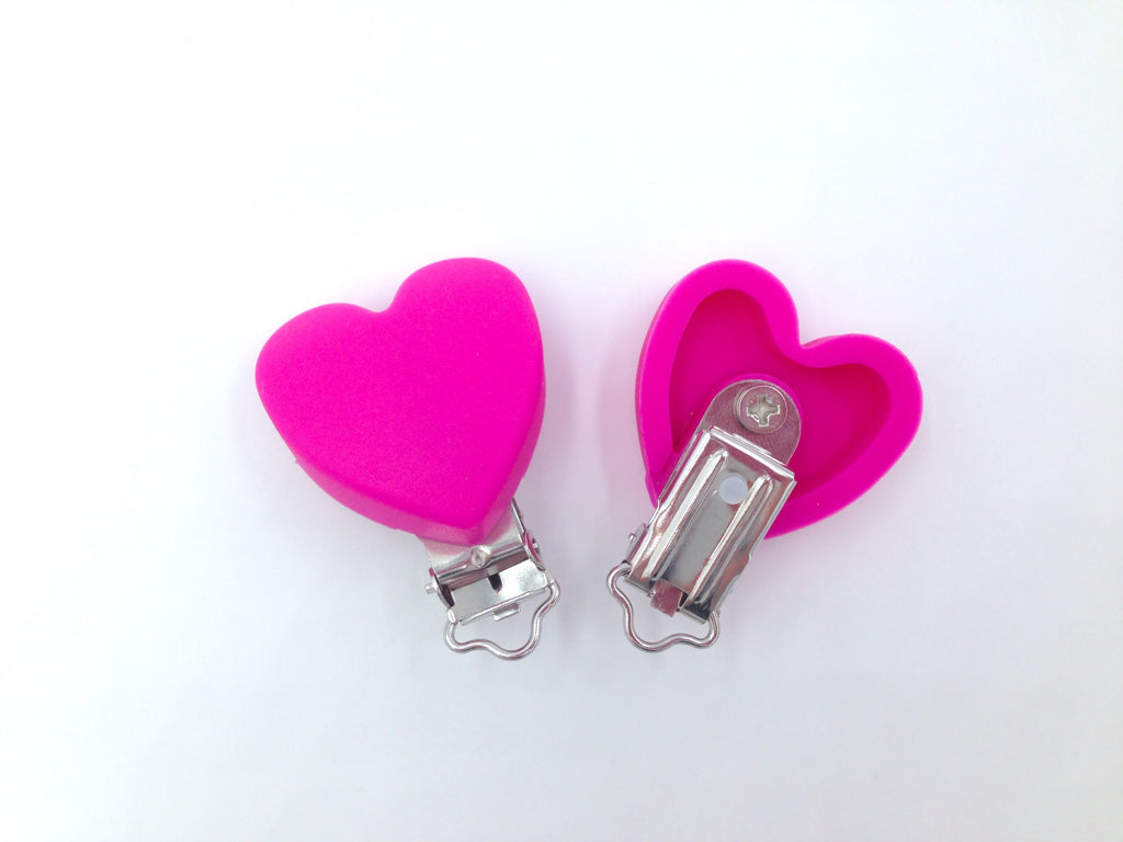 Hot Pink Heart Silicone Pacifier Clip