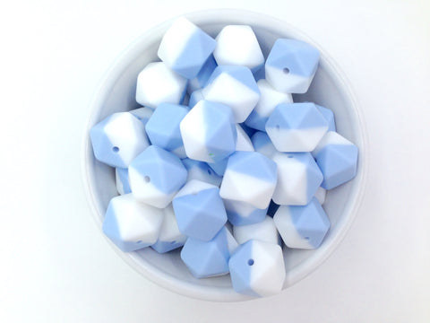 Baby Blue & White Hexagon Silicone Beads