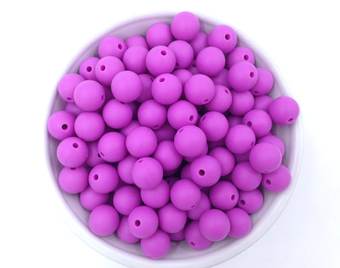 12mm Orchid Purple Silicone Beads