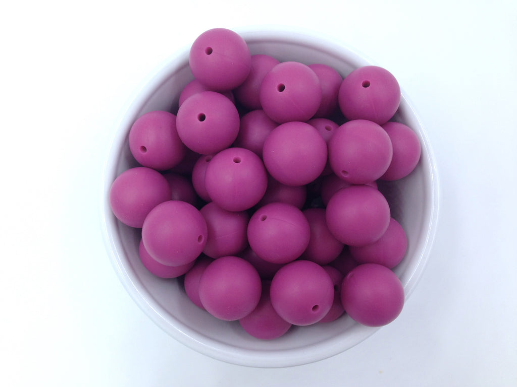19mm French Plum Silicone Beads