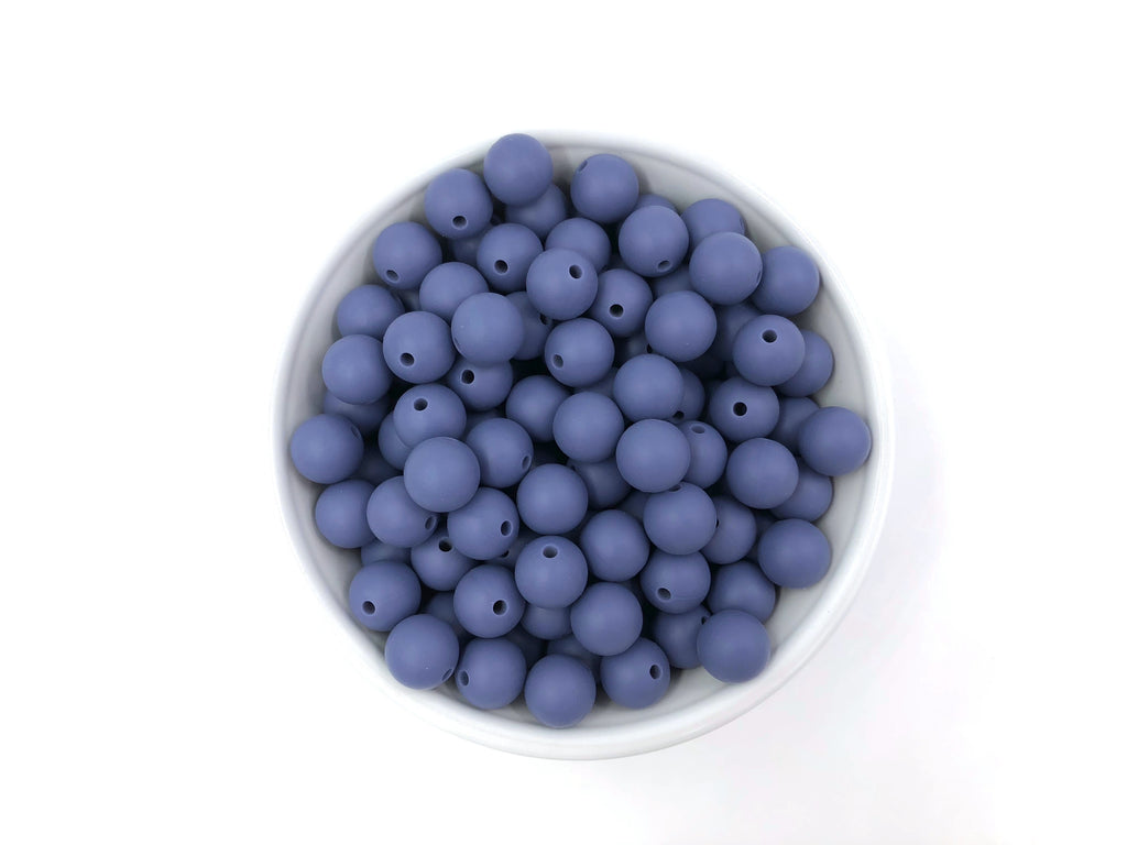 12mm Denim Blue Silicone Beads