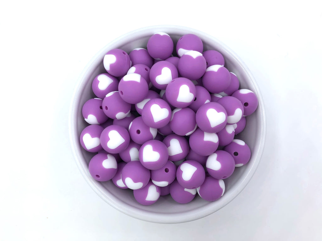 Limited Edition! 15mm Lavender Purple and White Heart Silicone Beads