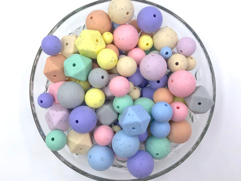 Pastel Speckled Bulk Silicone Bead Mix