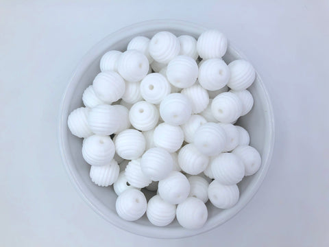15mm White Silicone Beehive Beads