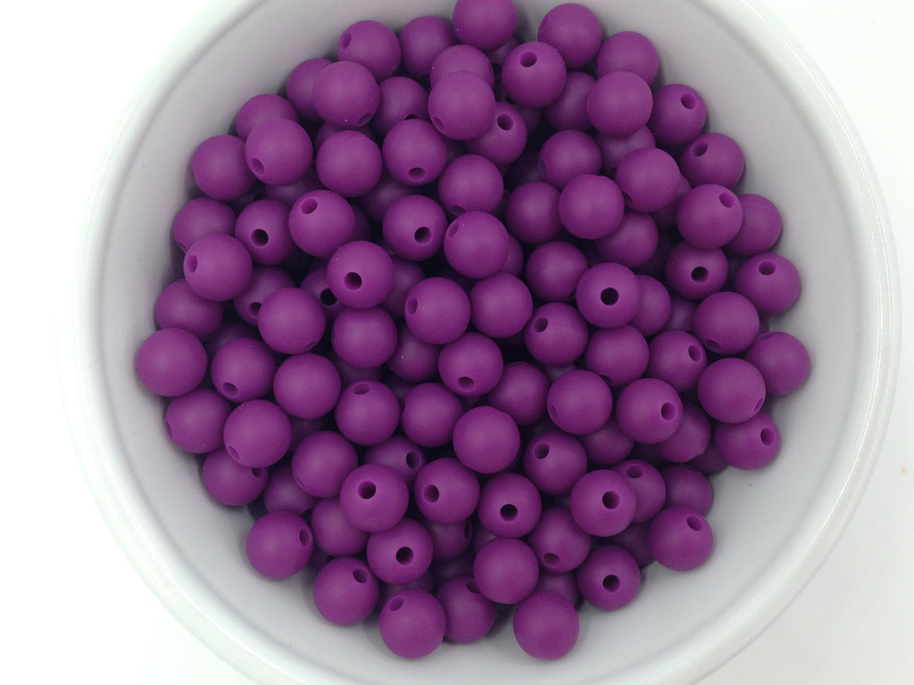 9mm Perfect Plum Silicone Beads