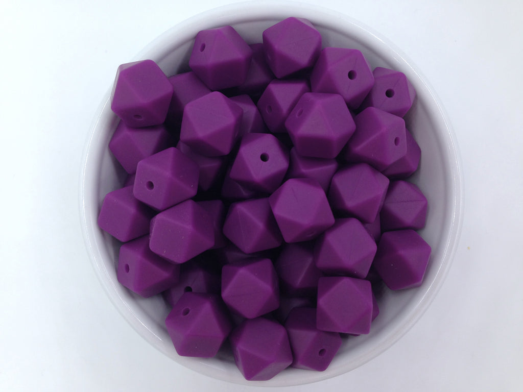 14mm Perfect Plum Mini Hexagon Silicone Beads