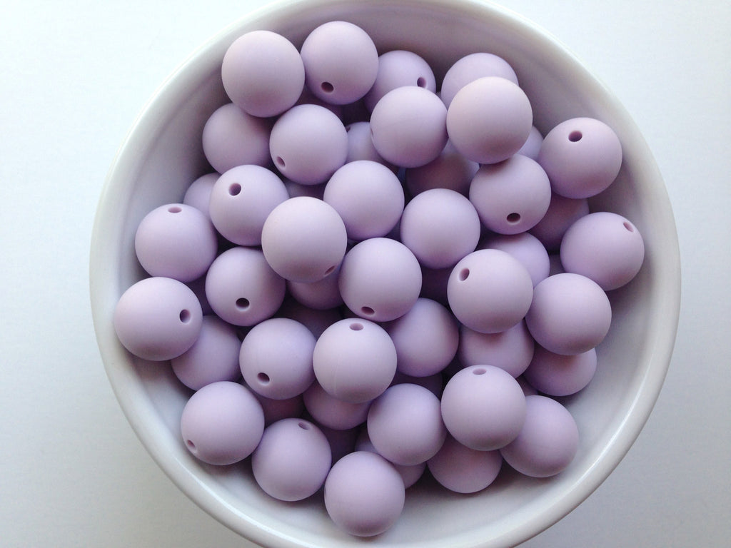 15mm Lavender Mist Silicone Beads