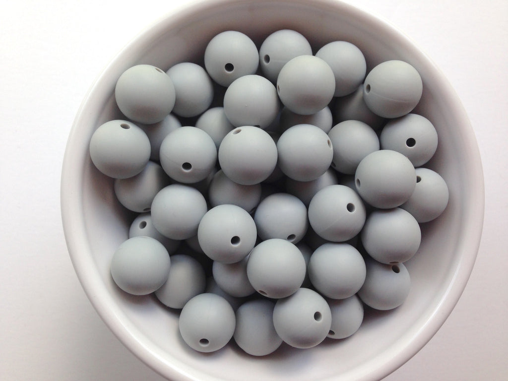15mm Light Gray Silicone Beads