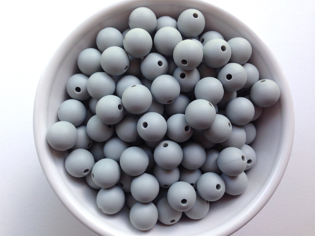 12mm Light Gray Silicone Beads