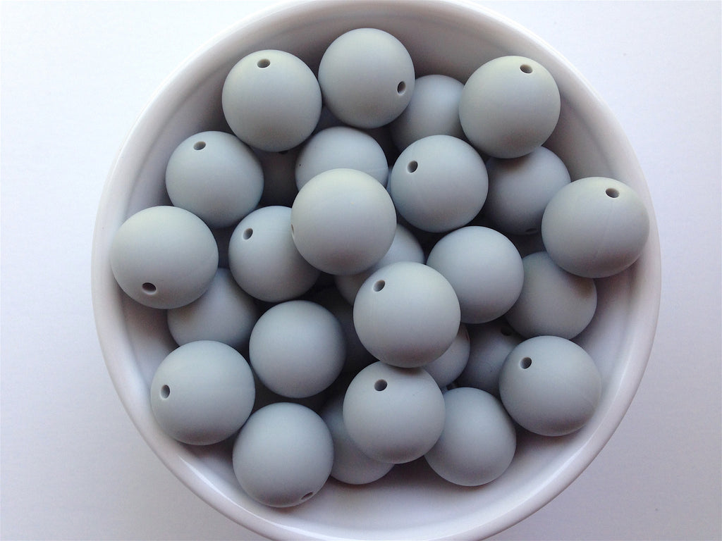 19mm Light Gray Silicone Teething Beads