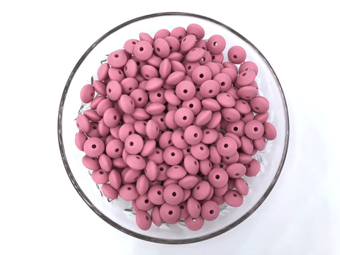 Dusty Rose Metallic Saucer Silicone Beads