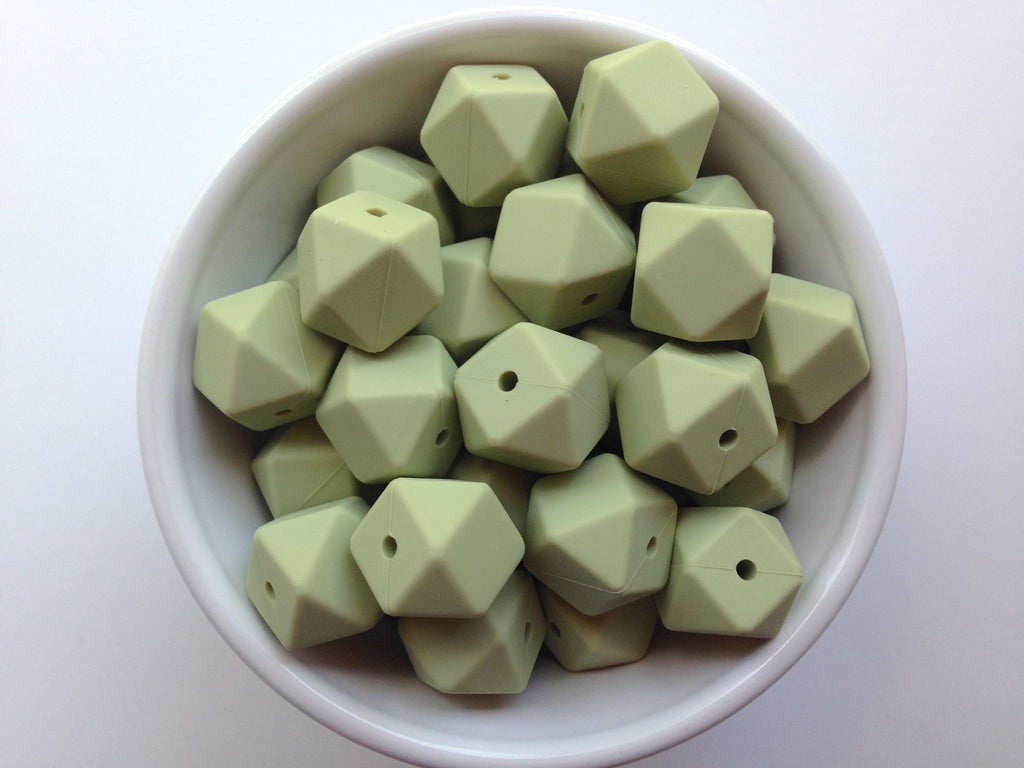 Sage Green Hexagon Silicone Beads