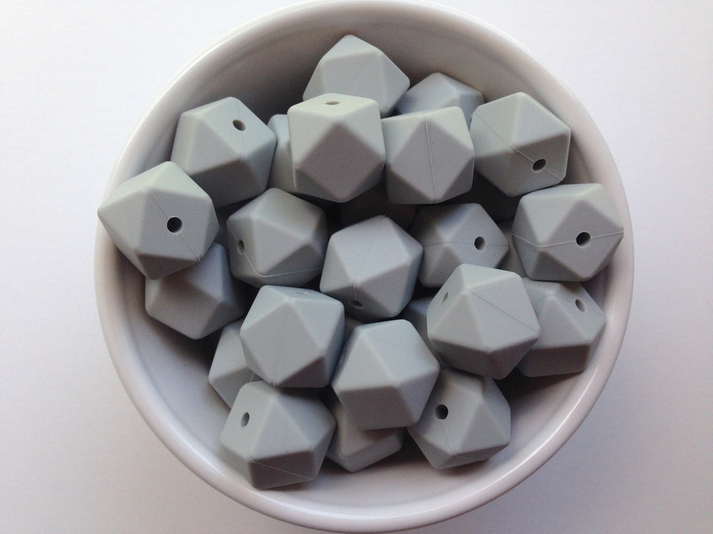 Light Gray Hexagon Silicone Teething Beads