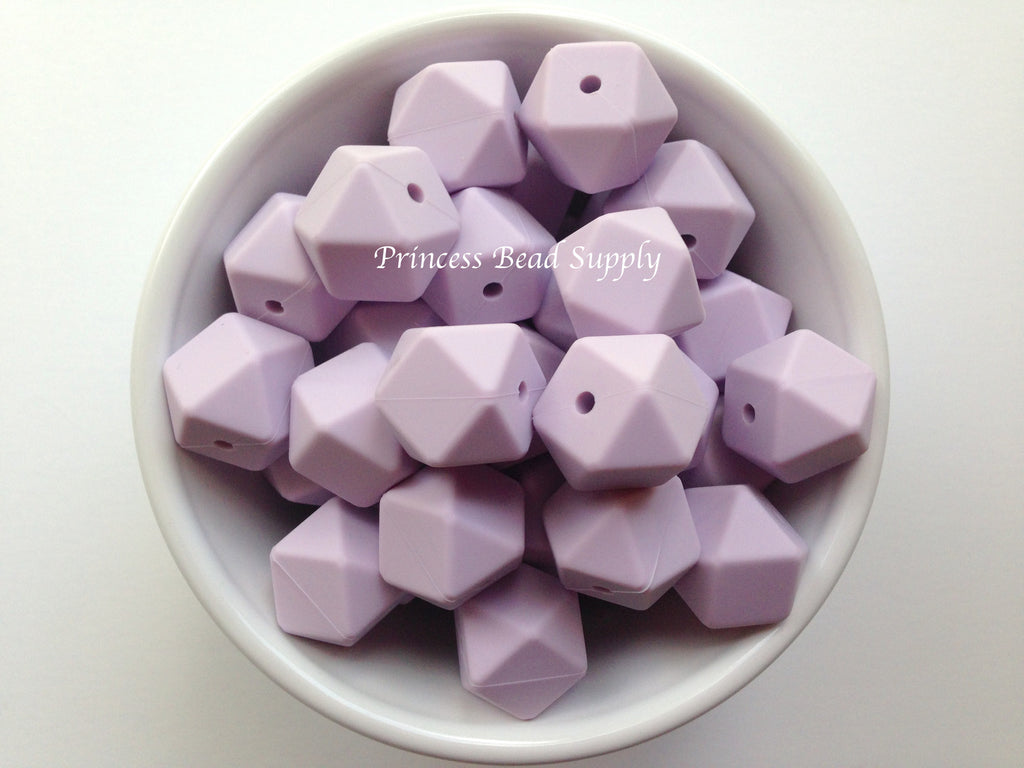 Lavender Mist Hexagon Silicone Beads