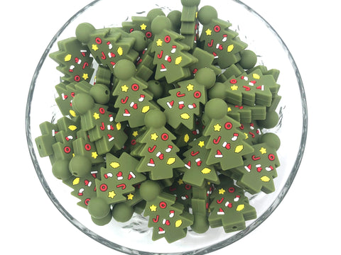 Christmas Tree Silicone Beads--Evergreen