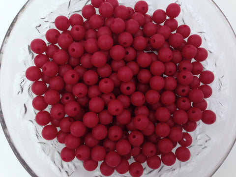 9mm Cranberry Silicone Beads