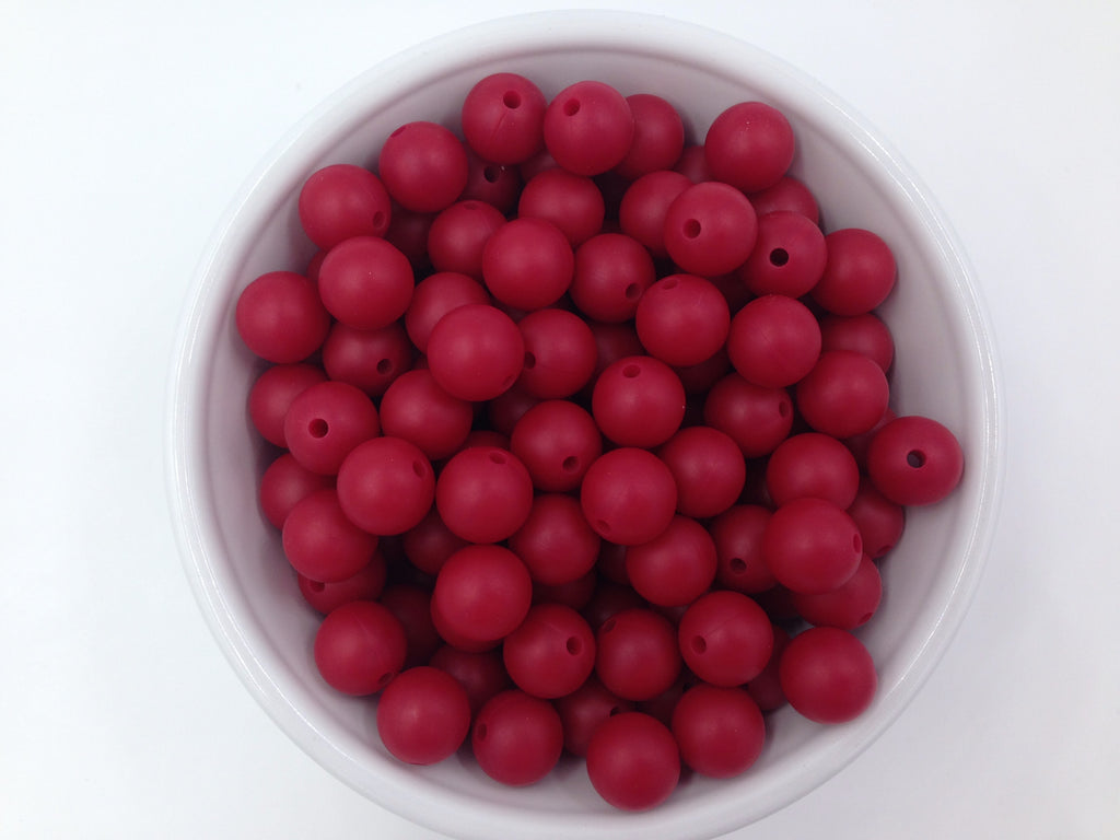 12mm Cranberry Silicone Beads