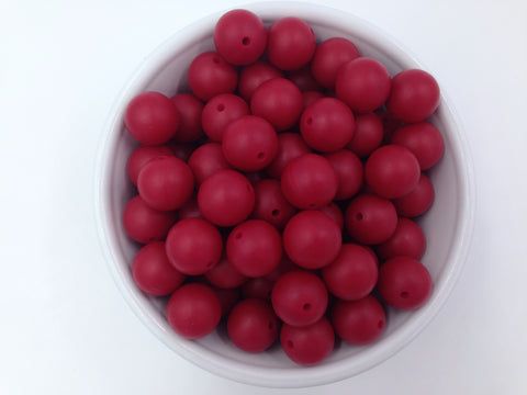 19mm Cranberry Silicone Beads