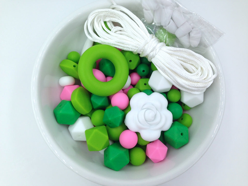 Shades of Green, Pink, and White Bulk Silicone Bead Mix--St. Patrick's Day Mix
