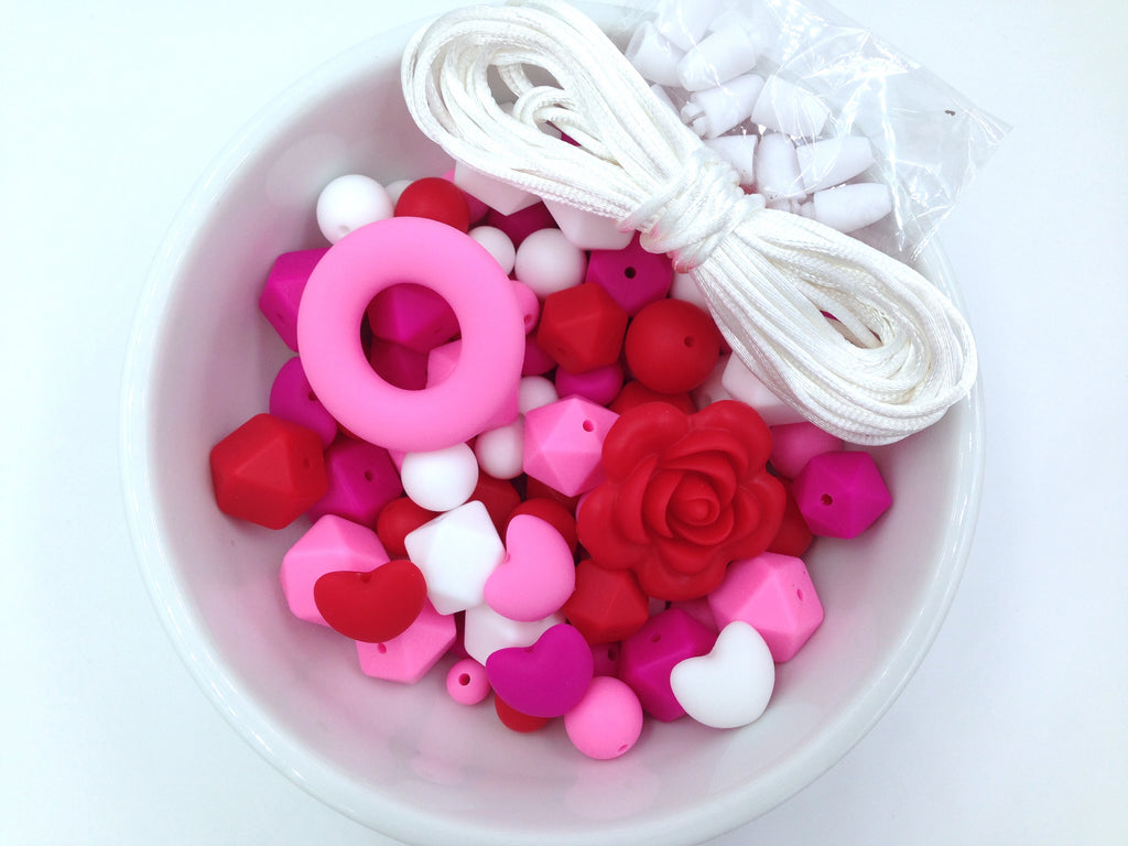 Red, Pink and White Bulk Silicone Bead Mix--Valentine's Mix