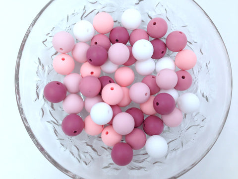 Shades of Pink and White Mix, 50 or 100 BULK Round Silicone Beads