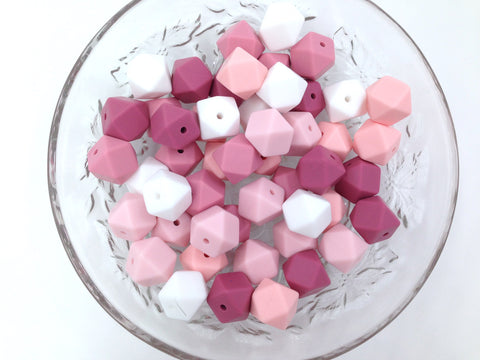 Shades of Pink and White Mix, 50 or 100 BULK Hexagon Silicone Beads