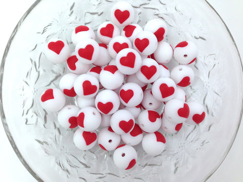 Limited Edition!   15mm White and Red Heart Silicone Beads