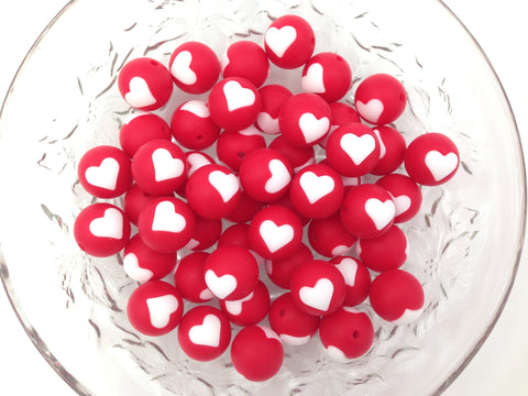 Limited Edition!   15mm Red and White Heart Silicone Beads
