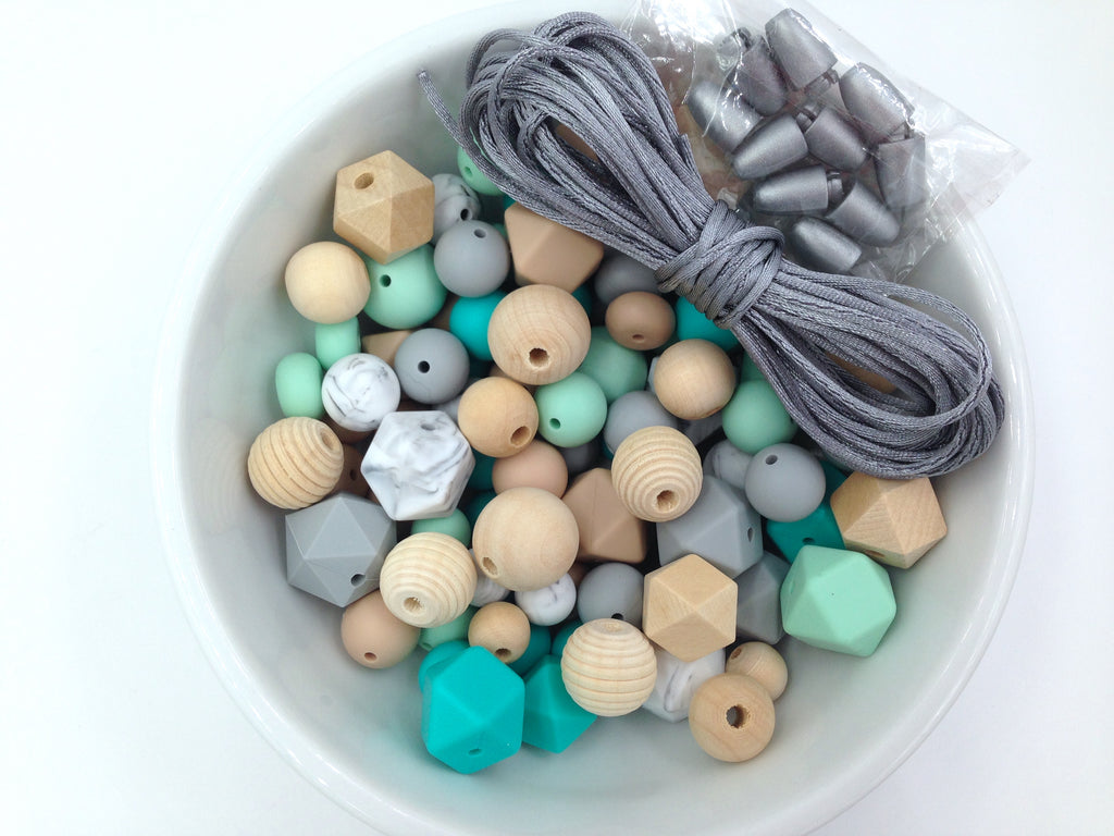 Turquoise, Mint, Oatmeal, Marble and Light Gray Silicone and Wood Bead Mix