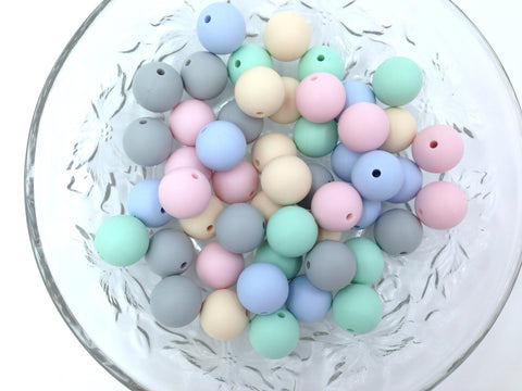 Beige, Pink, Mint, Blue & Gray 50 or 100 BULK Round Silicone Beads