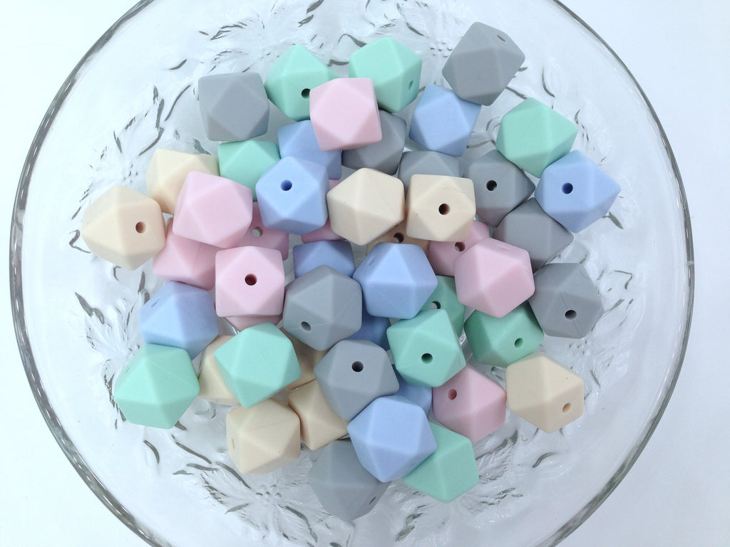 Beige, Pink, Mint, Blue & Gray 50 or 100 BULK Hexagon Silicone Beads
