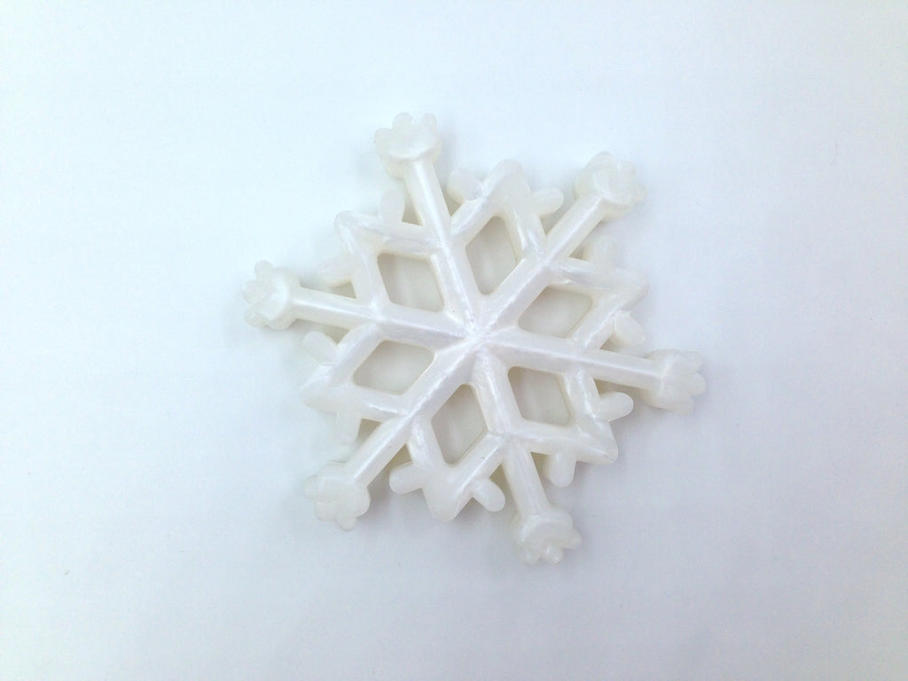Metallic White Snowflake Silicone Teether
