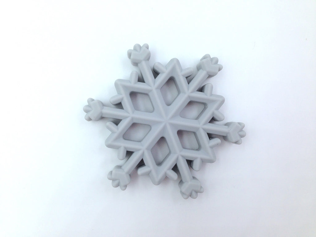 Light Gray Snowflake Silicone Teether