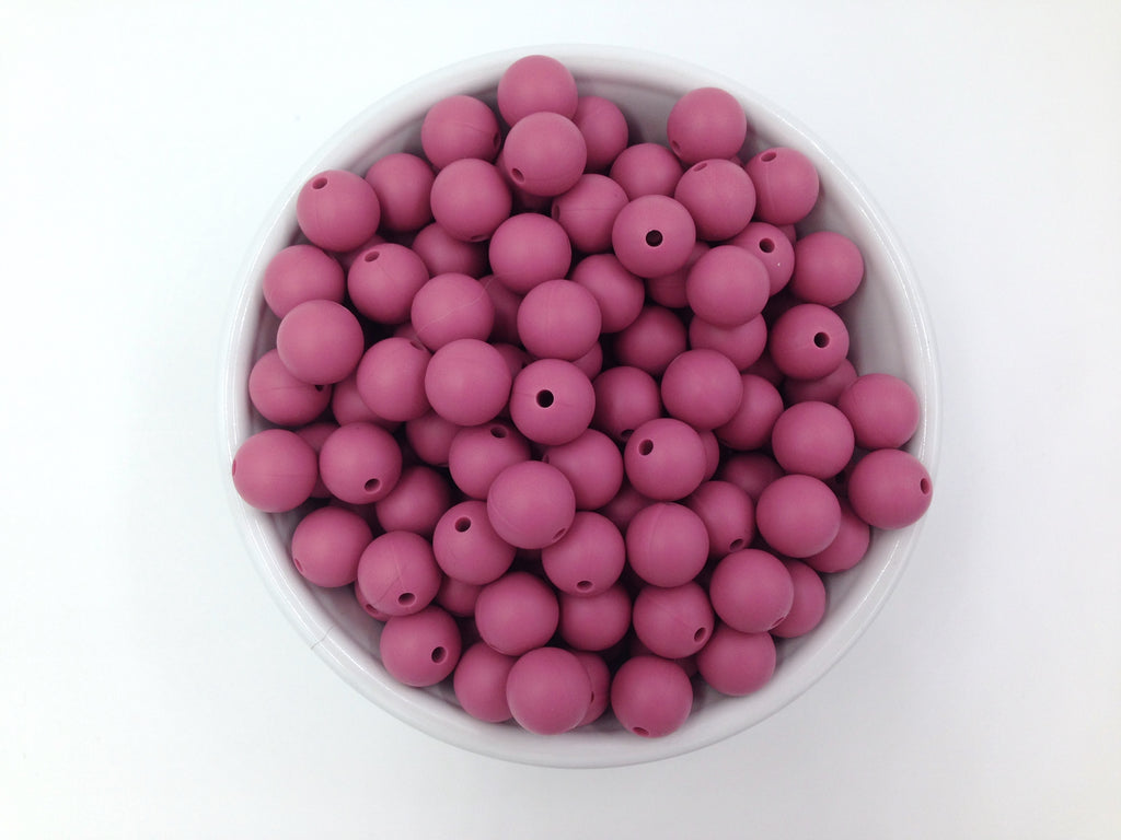 12mm Plum Rose Silicone Beads