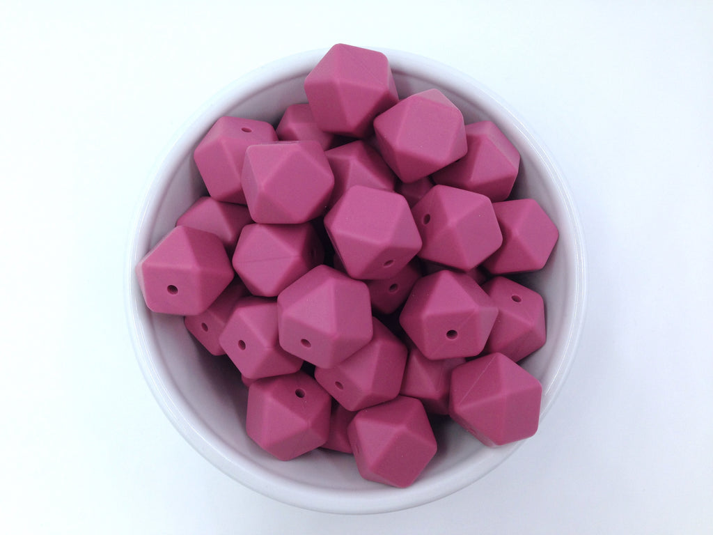 Plum Rose Hexagon Silicone Beads