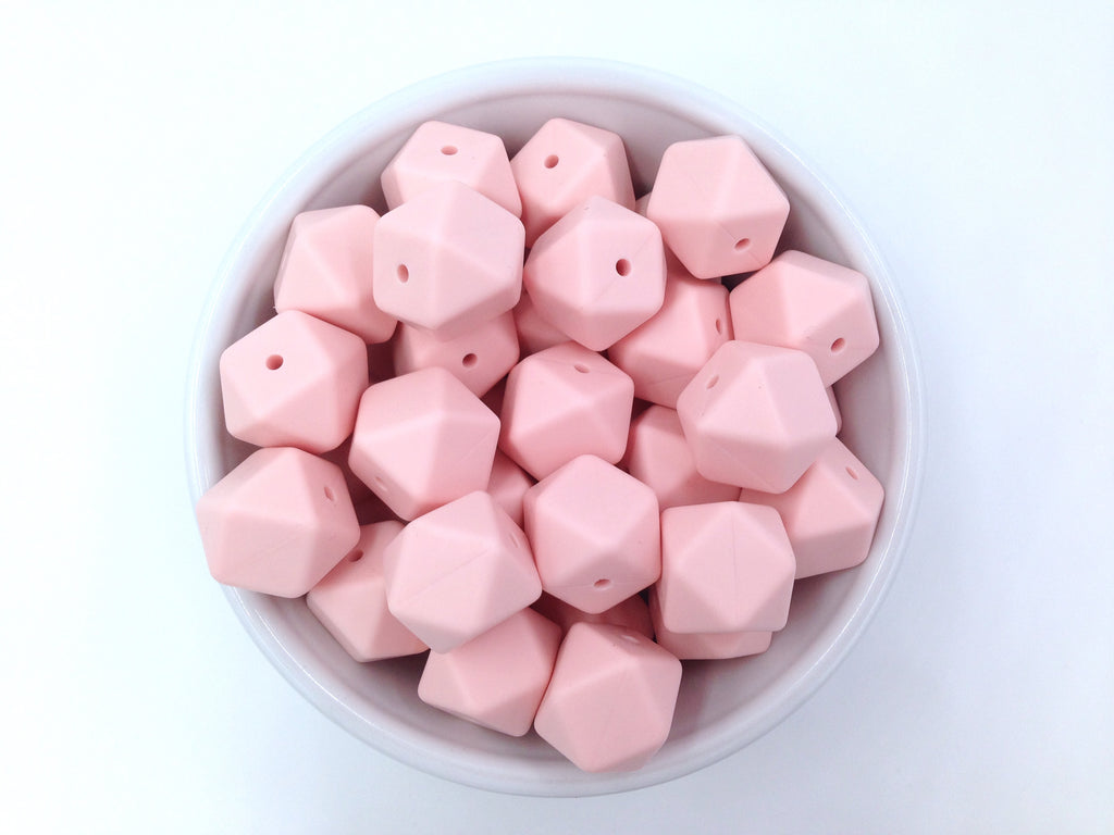 Ballet Pink Hexagon Silicone Beads