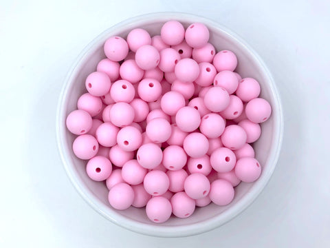 12mm Baby Pink Silicone Beads