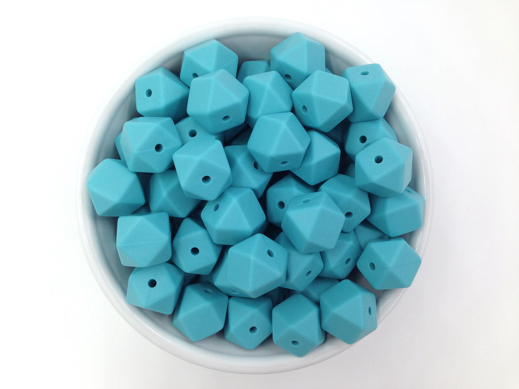14mm Seaside Mini Hexagon Silicone Beads