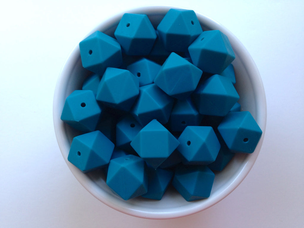 Teal Blue Hexagon Silicone Beads