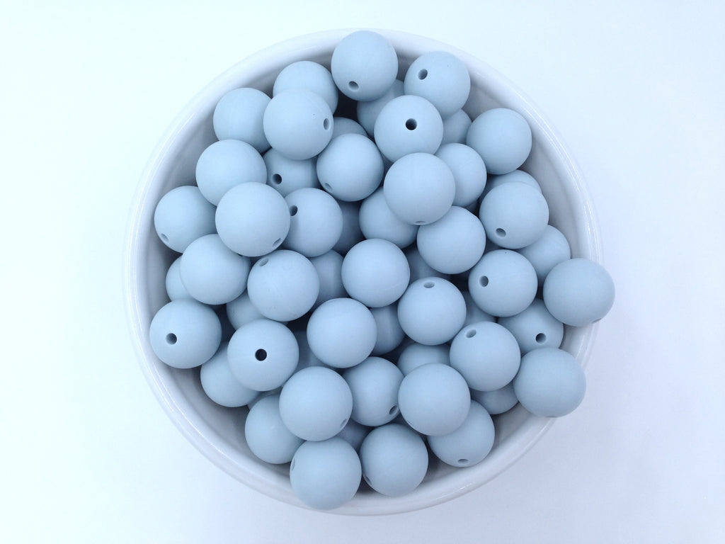 15mm Icicle Blue Silicone Beads