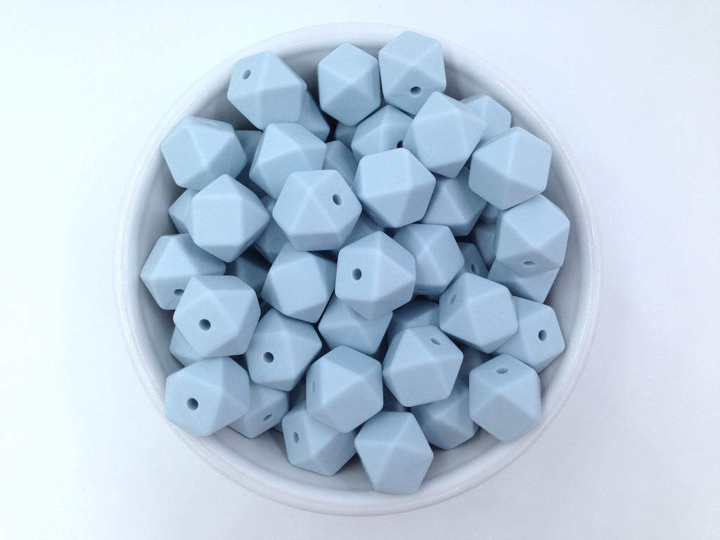 14mm Icicle Blue Mini Hexagon Silicone Beads