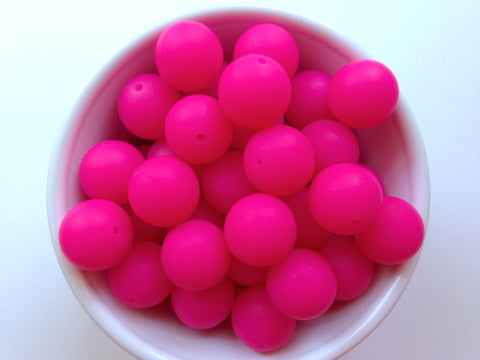 19mm Fuchsia Pink Silicone Beads