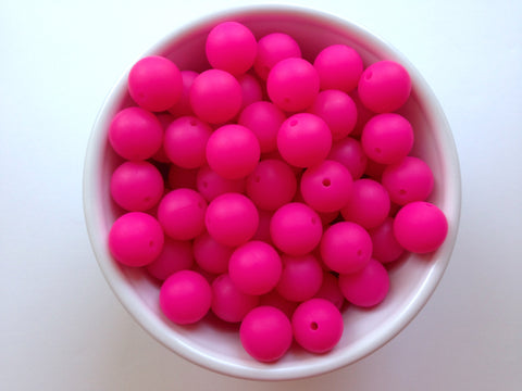 15mm Fuchsia Pink Silicone Beads
