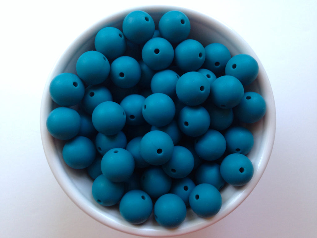 15mm Teal Blue Silicone Beads