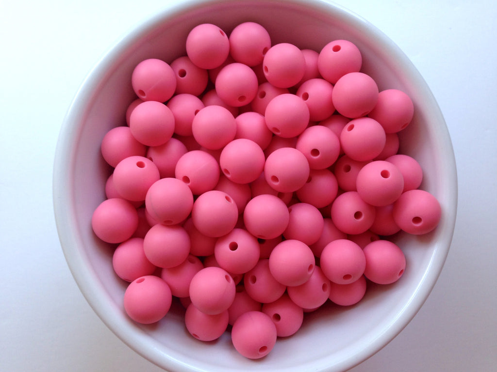 12mm Perfectly Pink Silicone Beads