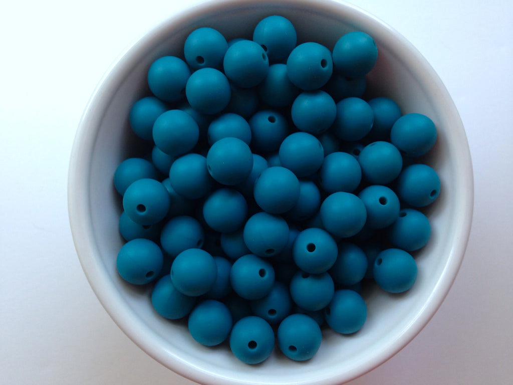 12mm Teal Blue Silicone Beads