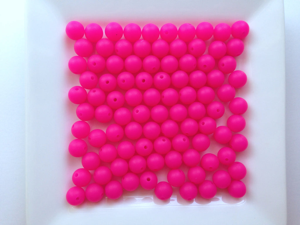 9mm Fuchsia Pink Silicone Teething Beads