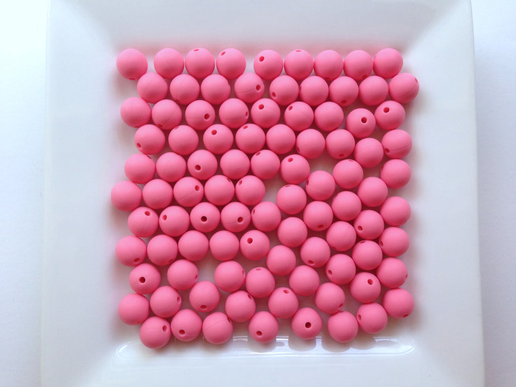 9mm Perfectly Pink Silicone Teething Beads