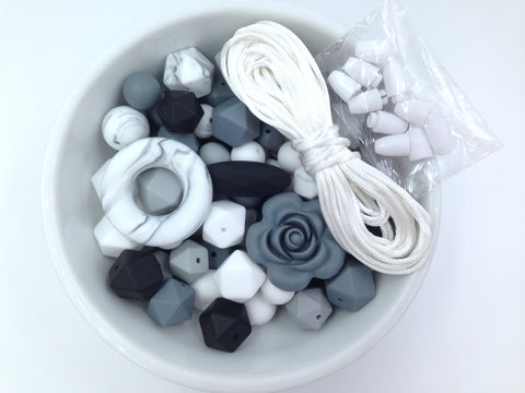 Marble, White, Gray & Black Bulk Silicone Bead Mix