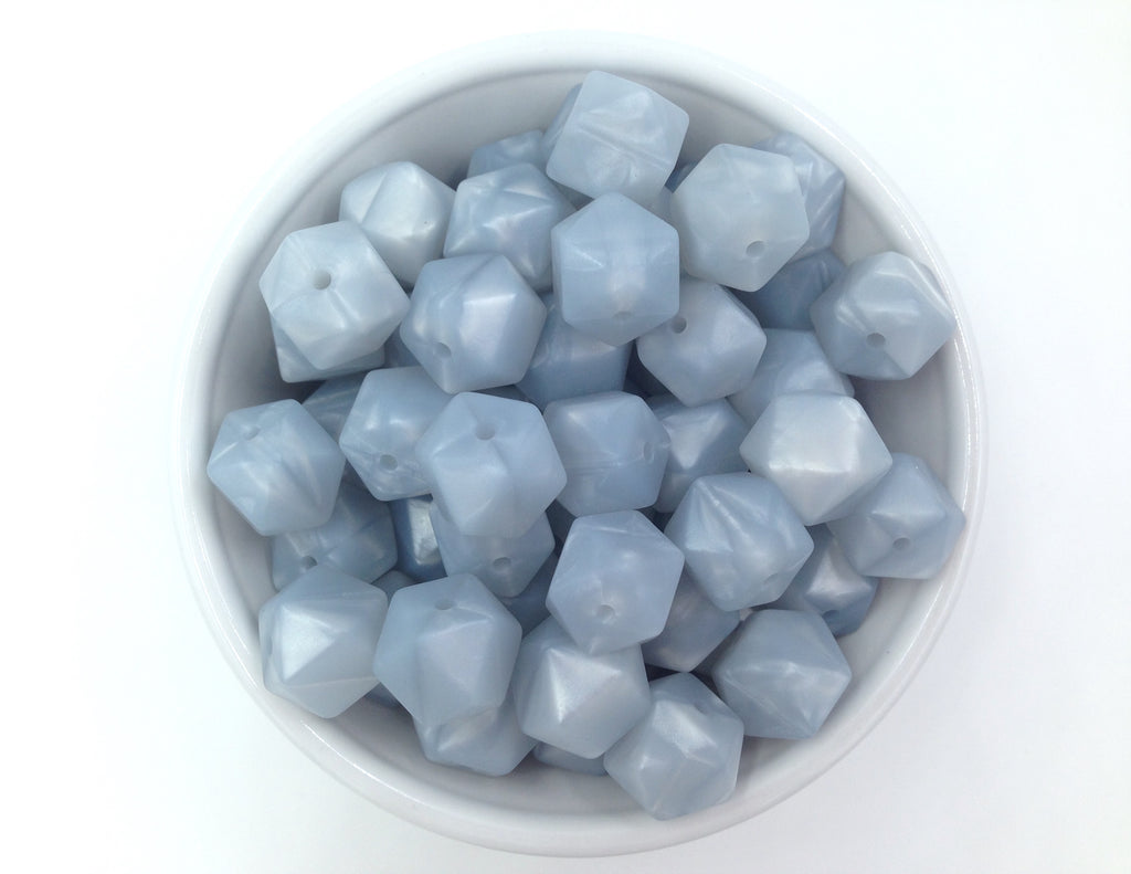 14mm Metallic Light Gray Mini Hexagon Silicone Beads